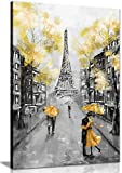 Yellow Black & White Paris Painting Canvas Wall Art Picture Print (30x20)