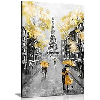 Couple Avec Rouge Parapluie à Paris noir fond blanc imprimé toile portrait