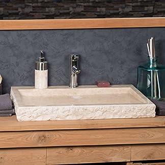 wanda collection Lavabo sobre encimera Grande 70 cm rectángulo de Piedra mármol Cosy Crema