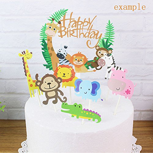Smallones 30pcs Jungle Animal Cupcake Toppers For Kids Party Decoration Baby Sho