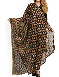 BOBY DUPATTA BEAUTIFUL BLACK EMBROIDED PHULKARI DUPATTA