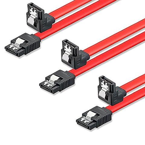 SET - 3x deleyCON [0,5m] S-ATA 3 Winkel-Kabel - PREMIUM SATA 3 HDD / SSD Datenkabel mit Clip - 1x Stecker gerade zu 1x Stecker 90° - Übertragungsraten bis zu 6 GBit/s - Länge: 50cm / Farbe: Rot