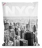 Sitzsack Big Bag NYC in schwarz weiß, Rückseite in anthrazit, 380 l Volumen, Maße: B/H/T ca. 130/170/20 cm