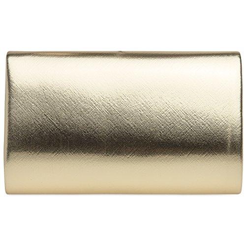 CASPAR TA361 Donna Pochette Elegante da Sera Metallizzata / Opaca Oro
