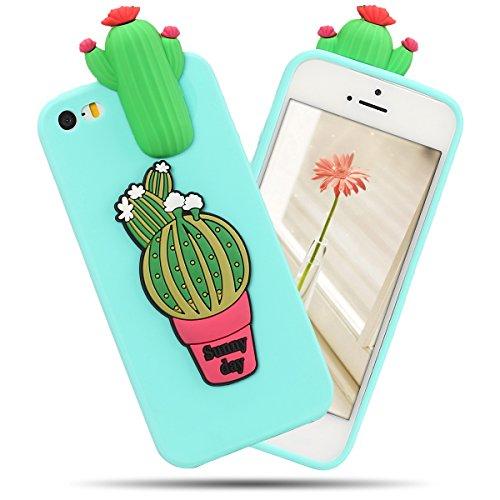 Cover iPhone 5S Spiritsun Case iPhone 5 Custodia iPhone SE Moda Ultraslim Soft TPU Case 3D Diy Handy Kawaii Cover High Quality Case Elegante Souple Flessibile Liscio Copertura Perfetta Protezione Shel Cactus