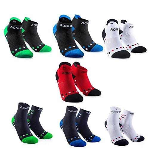 Sneakersocken Laufsocken Sportliche Socken Running Socks Mittel Lange Kurze 1 Paar Herren Damen für Fitness Tennis Joggen Laufen Alltag, Rot/Weiß/Schwarz-blau/Schwarz-grün