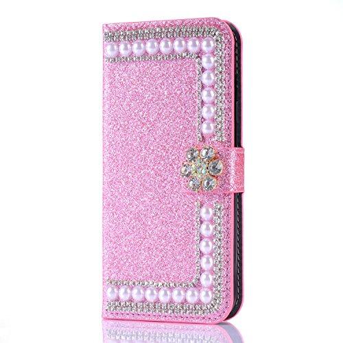 Artfeel Glitzer Brieftasche Hülle für Samsung Galaxy S8, Bling Diamant 3D Perle Flip Leder Handytasche mit Kartenhalter,Kristall Strass Blume Magnetverschluss Stand Hülle-Perle Rosa - Flüssigkeit Blumen