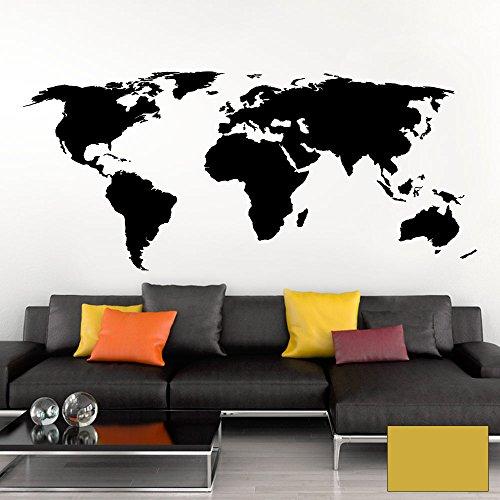 Grandora Wandtattoo Weltkarte Erde Globus Karte I Gold 170 x 75 cm I Welt Atlas Schlafzimmer Wohnzimmer Wandsticker Wandaufkleber W698 (Atlas 170)