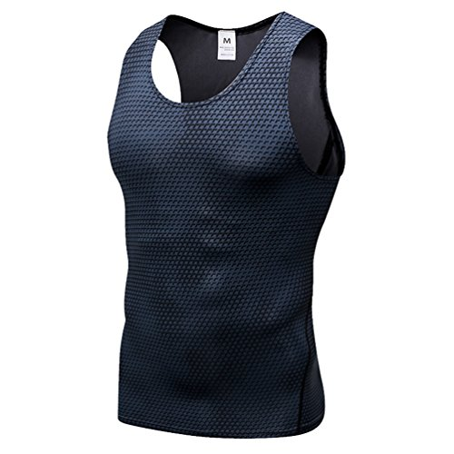 YiiJee Sports T-Shirt Herren Kompressionsshirt Base Layer Ärmellos Schnelltrocknend Tank Top Schwarz XL