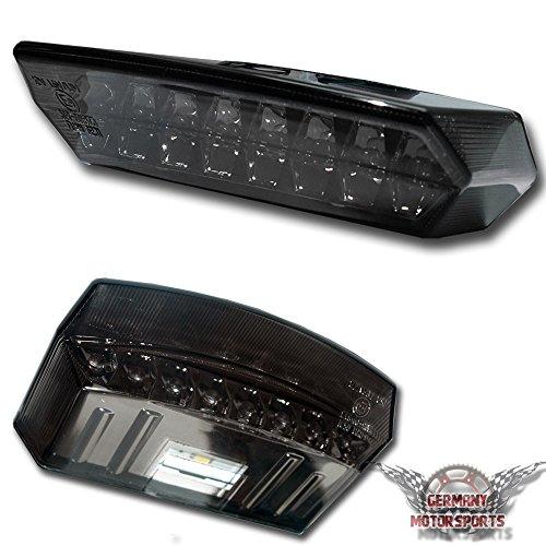 LED Motorrad Rücklicht Boston + Kennzeichenbeleuchtung Schwarz Rotes Glas Universal E-Geprüft - Germany Motorsports