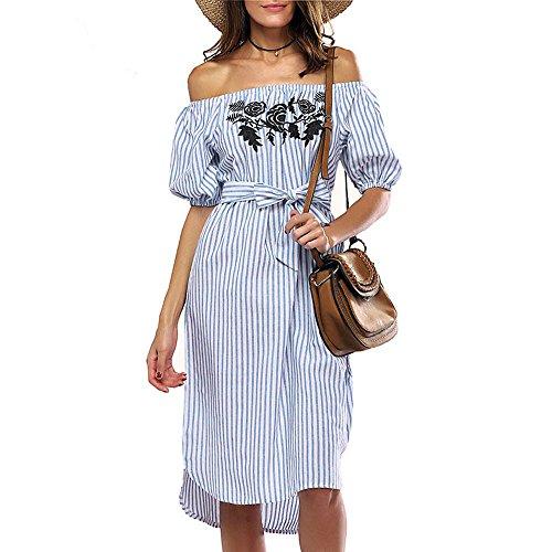 Preisvergleich Produktbild verfügbaren Angebote,kleider Ronamick Frauen Off Schulter Kleid Kurzarm Slash Neck Striped Casual Dress (Blau, M)