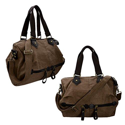 BMC da donna in tela, materiale resistente con doppia maniglia superiore grande Satchel borsetta Coffee Brown