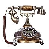 Telefono retro FJH Cableado Estampado de Vidrio Roto Esmalte Metal Botón Marcador Llamador Pantalla Jardín Moda Asiento Creativo Oficina en el hogar Europeo 20cm * 26cm * 25cm