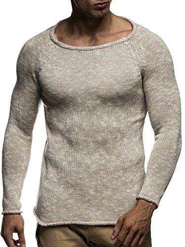 LEIF NELSON Herren Pullover Strickpullover Hoodie Basic Rundhals Crew Neck Sweatshirt langarm Sweater Feinstrick LN20700; Gr_¤e M, Beige