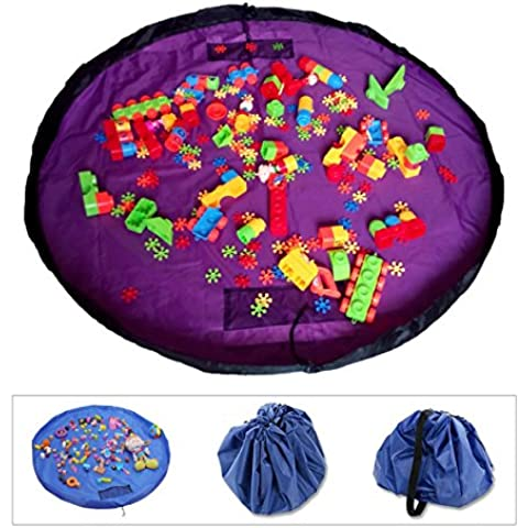 Fodlon® Bolsa de almacenamiento Bolsa organizadora de juguete Manta de juguetes para niños portátil para hogar, al aire libre, viaje tamaño grande -