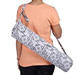 #7: Jaipur Classic Cotton Hand Printed Yoga Mat Cover with Strap, Grey print on White
