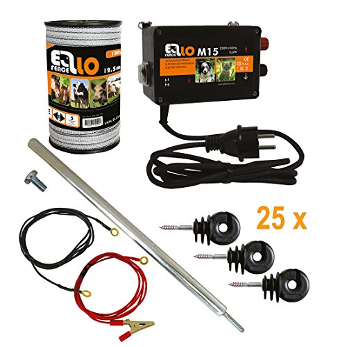 Hobby Ellofence Kit de démarrage complet pour clôture électrique, ruban de clôture électrique de 12,5mm, piquet de mise en terre et isolateurs, appareil extrêmement silencieux 230V.