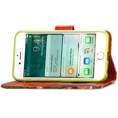 iPhone 7 Coque, Apple iPhone 7 Coque, Lifeturt [ Violet ] Motif Pure Couleur Housse en Cuir Case à Avec La Fonction Stand Coque de Intérieure Protection Souple Coque Portefeuille TPU Silicone Case Cov E2-Vert foncé