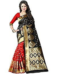 Shiya Tassar Silk Saree With Blouse Piece (Pari 1 Black Red_Black_Free Size)