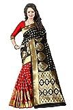 Shiya Women's Tassar Silk Saree with Blouse Piece Free Size (Pari 1 Black Red)