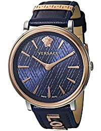 Versace Women's 'THE MANIFESTO EDITION' Quartz Stainless Steel and Leather Casual Watch, Color:Blue (Model: VBP090017)