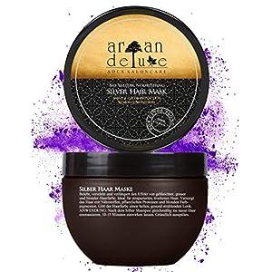 Mascarilla de plata Argan Deluxe con calidad de peluquería 250 ml – tratamiento capilar para neutralizar tonos amarillos y obtener un brillo extra sedoso.