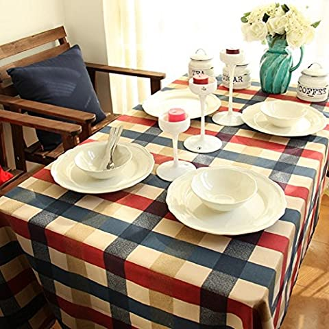K&C Plaid Tablecloth 55 x 70 Inch Tablecloth 100 Percent Cotton Rectangular Table Cover