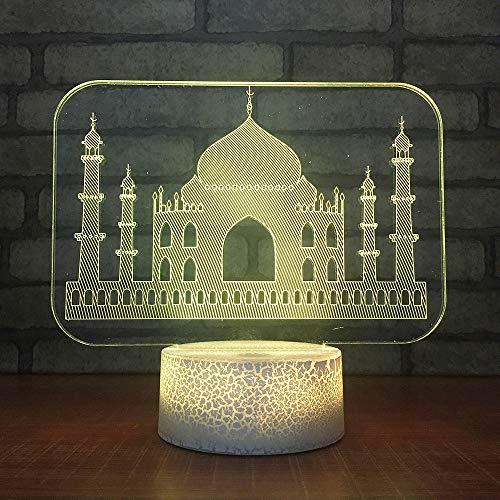 Schlafzimmerdekoration 7 Farben Ändern 3D Led Architektonische Beleuchtung Taj Mahal Styling Geschenke Kinder Tischlampe Atmosphäre Schlaf Nachtlicht (Architektonische Beleuchtung)