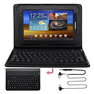 Premium Black Leather Case With Bluetooth Keyboard + Black Earphone Headset With MIC for Samsung Galaxy Tab 7.0 Plus P6200 P6210
