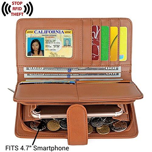 UTO Donna Portafoglio Lungo RFID Blocco Pelle Sintetica Grandi Capacità Si può mettere 15 Carte con Chiusura a Bottone Marrone
