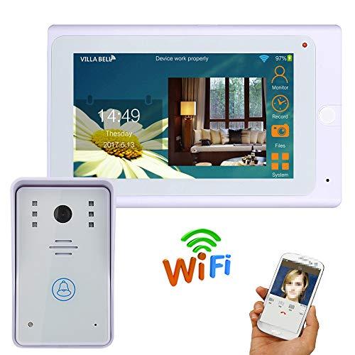 JaidWefj Video Doorbell | 7 Zoll Video Türsprechanlage Türklingel Intercom System, Gegensprechfunktion, Touch-Taste, Nachtsicht Intercom-außeneinheit