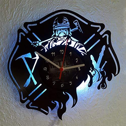 feuerwehr wanduhr Roter Hahn 112 Hochwertige Feuerwehr Vynil Wanduhr Uhr aus Echter Schallplatte / 30cm / Geräucharm