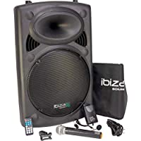 Ibiza Port15VHF-BT mobile 38cm PA-DJ-Anlage PA-Box Bluetooth-Lautsprecher inkl. Funkmikrofon, Fernebdienung (400W RMS, Akku-Betrieb,USB/SD, Radio) schwarz