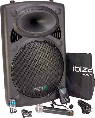 Ibiza Port15VHF-BT Impianto audio portatile cassa attiva, 800 Watt, ingressi USB SD MP3, Nero