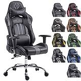 CLP Bürostuhl Limit V2 mit hochwertiger Polsterung und Kunstlederbezug I Gamingstuhl mit Metallgestell I Höhenverstellbarer Schreibtischstuhl schwarz/grau, ohne Fußablage