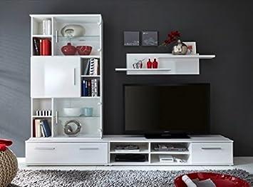238 X 188 41 Cm In Weiss Hochglanz Melamin BeleuchtungFarbwechsel BeleuchtungAusfhrungohne Glas TV Bhne Amazonde Kche Haushalt