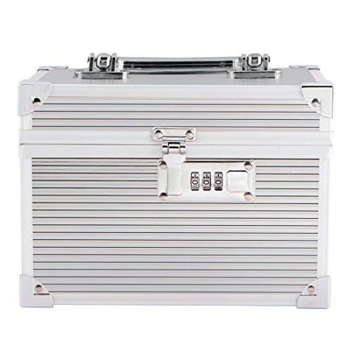 Stripes Metal Two Layer Bridal Make Up Box/Vanity Box With Number Lock - Silver