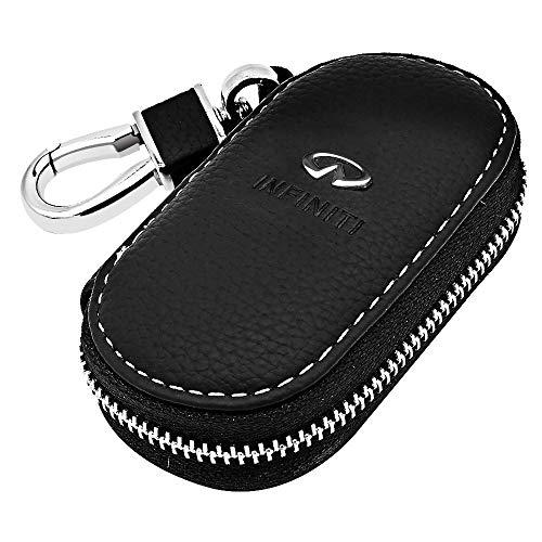 VILLSION Echtes Leder Schlüsseltasche Auto Schlüsselmäppchen Auto Funkschlüssel Halter Schlüssel Kasten mit Edelstahlhaken Metall Reißverschluss, Schwarz -