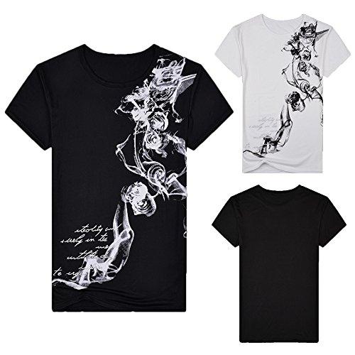 er Casual Slim Fit Bedrucktes Kurzarm T-Shirt Pullover Top Bluse Schwarz L ()