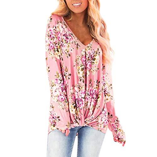 LSAltd Mode Frauen süße Blumendruck Kreuz Plissee Pullover Bluse Casual Langarm V-Ausschnitt Shirt Tops