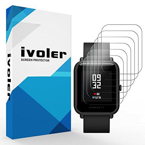 iVoler [6 Pack] Pellicola Protettiva per Huami Amazfit Bip, Wet Applied Protezione Schermo [Bubble-Free-Riutilizzabile] HD Clear Film in TPU