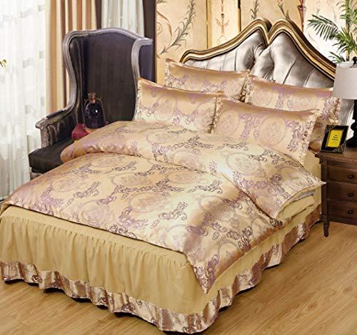 SJT Bettwäsche-Set, Europäischen Sommer EIS Seide Bett Rock Vierteiligen Satz Seide Seide Satin Bettbezug Prinzessin 1.8M Bettdecke Bettwäsche,Gold,Einheitsgröße (Gold-bett-satz)