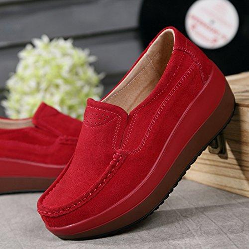 Z.SUO Mocassini Donna in pelle scamosciata Moda comode loafers scarpe da guida Rosso.2