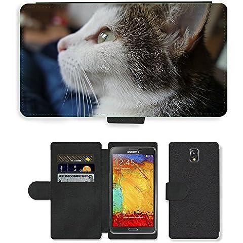 CARD POCKET BOOK CASE PU LEATHER CASE // M00149494 Gato Gato Mascota Cara dulce Estimado // Samsung Galaxy Note 3 III N9000 N9002 N9005