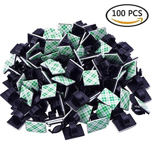 100 Stück Kabelhalter 3M Doppelseitige Klebstoff selbstklebende Kabelschelle, Schreibtisch Kabelhalter, Kabelführung für Zuhause Büro, Auto, PC, TV (black, one size) (Patch Panel Wand Halterung)