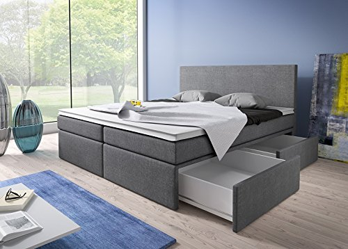 boxspringbett 180x200 mit bettkasten grau stoff hotelbett polsterbett matratze modell roma. Black Bedroom Furniture Sets. Home Design Ideas