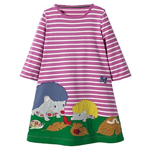 Mädchen Baumwolle Freizeit Langarm T-shirt Kleid Igel/4T (Für Mädchen Langarm-kleid 4t)