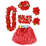 BESTOYARD Conjunto de Disfraces de Hula Hawaiana para Niños con Pulseras Diadema de Flor Roja