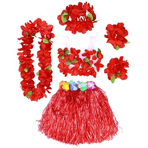 Bh Gras Kokosnuss Und Kostüm Rock - BESTOYARD Hawaii Kostüme Tropical Hula Gras Rock BH Blume Armbänder Stirnband Halskette 6 Stück (Rot)