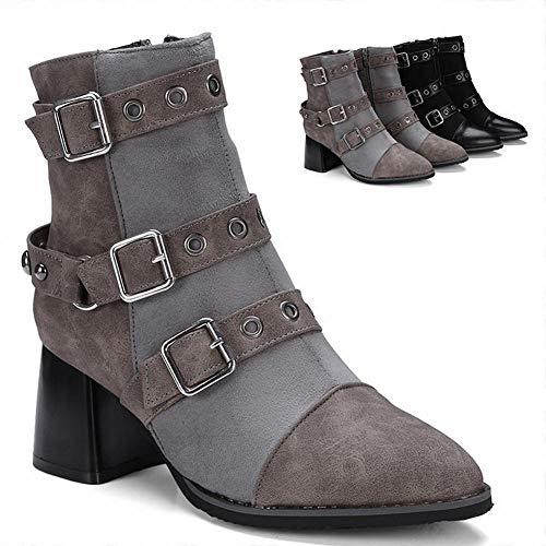Herbst Booties Mode Damen Stiefel/Dick Mit Martin Stiefel/Lederstiefel 34~43 Meter,Grau,35 ()